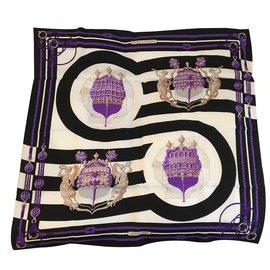 Hermès-Silk scarves-Black,White,Purple