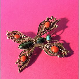 Vintage-Belle Broche Ancienne en Argent filigranné en forme de Papillon-Multicolore
