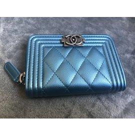 Chanel-Porte monnaie-Bleu
