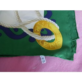 Céline-Scarf-White,Golden,Green