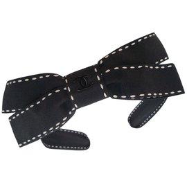 Chanel-SERRE-TETE NOEUD bicolore-Noir