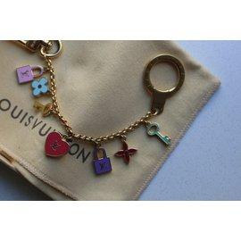 Louis Vuitton-Titular de chave e bolsa de charme-Rosa,Azul,Dourado,Verde,Amarelo