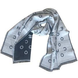 Chanel-Scarves-Beige,Navy blue