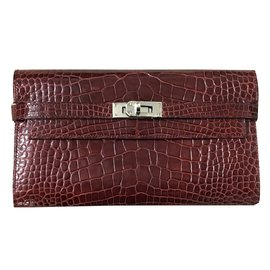 Hermès-Kelly wallet-Dark red