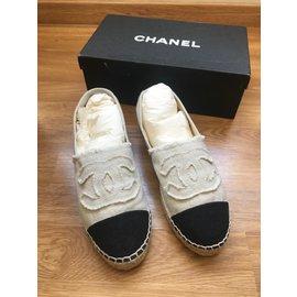 Chanel-Espadrilles chanel-Noir,Beige