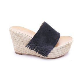 Chloé-Wedge mules-Navy blue