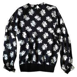 Gucci-Gucci - Ensemble Blouse /pantalon en soie-Noir,Blanc