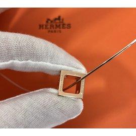 Hermès-Collier Cage d' H-Blanc,Doré