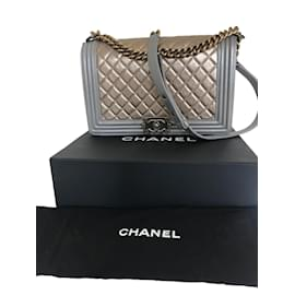 Chanel-gold silver new medium boy bag-Metallic