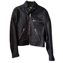 Saint Laurent-Blouson biker en cuir noir-Noir