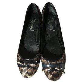 Yves Saint Laurent-Ballerines-Imprimé léopard
