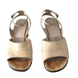 Fausto Santini-sandales compensées beige vanille vintage-Beige