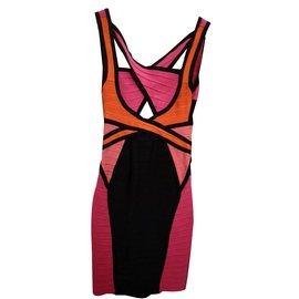 Herve Leger-Dresses-Pink,Orange