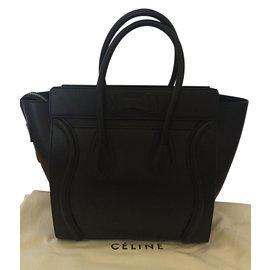 Céline-Luggage micro modèle veau lisse noir-Noir