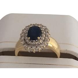 No Brand-Belle bague saphir et diamants sur or jaune-Doré