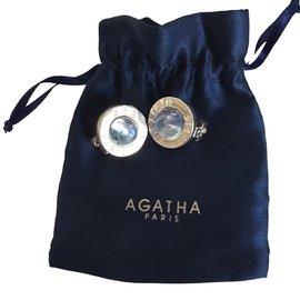 Autre Marque-Boucles d'oreilles Agatha-Argenté,Bleu