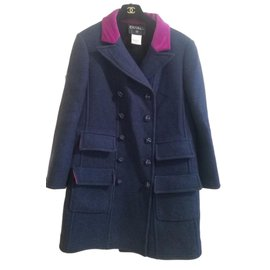 Chanel-Coats, Outerwear-Pink,Blue