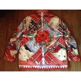 Hermès-Veste réversible soie et lin-Multicolore