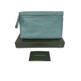 Longchamp-Petite pochette en cuir bleu-Bleu