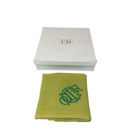 Christian Dior-Tour de cou en soie-Vert,Jaune