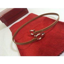Salvatore Ferragamo-Bracelet en cuir-Beige