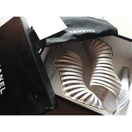 Chanel-Sandales-Gris,Métallisé