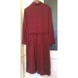 Hermès-Dresses-Dark red