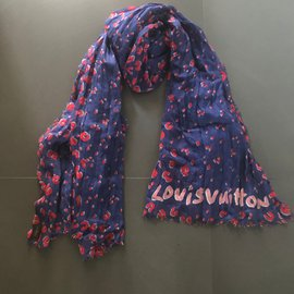 Louis Vuitton-Foulard-Rouge,Bleu