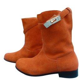Hermès-Ankle boots-Orange