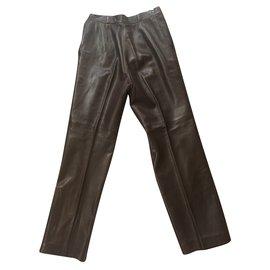 Hermès-Pants, leggings-Dark brown