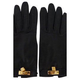 Hermès-Gloves-Black,Golden