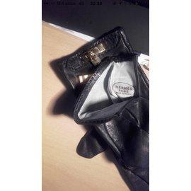 Hermès-Gants-Noir,Doré