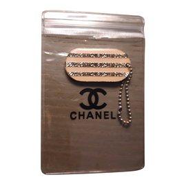 Chanel-Plaque logo-Argenté,Beige