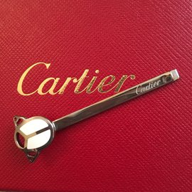 Cartier-Barrette ou pince à cravate-Blanc
