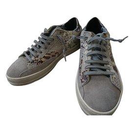 Autre Marque-Sneakers P448-Beige,Gris