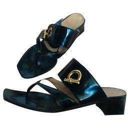 Hermès-Sandales chaîne d'ancre-Noir