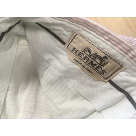 Hermès-Pantalons homme-Rose,Blanc