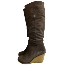 Geox-Genuine suede leather boots-Brown