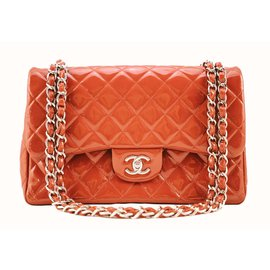 Chanel-timeless classic jumbo lined flap-Red