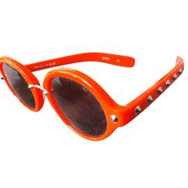 Rebecca Minkoff-Sunglasses-Silvery,Red