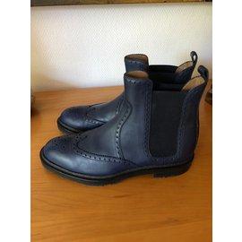 Hermès-Ankle boots-Navy blue
