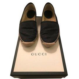 Gucci-Espadrilles-Noir,Gris anthracite