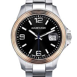 Mauboussin-Montre Homme d'Audace, 40mm, acier et or rose-Argenté