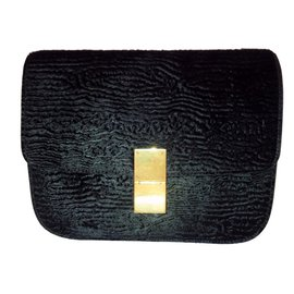 Céline-Classic Box in Astrakhan Stamped Pony calf leather-Black