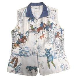 Hermès-Pulls, Gilets-Marron,Blanc,Bleu,Écru