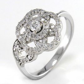 Chanel-BAGUE CAMELIA DIAMANTS-Blanc