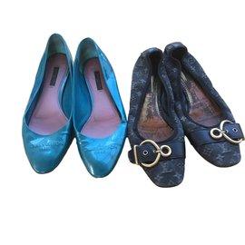Louis Vuitton-Ballerines très vintage-Noir,Bleu