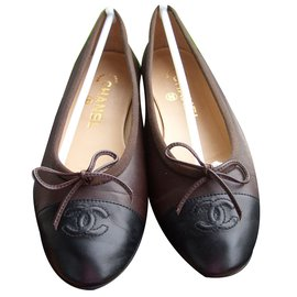 Chanel-ballerines bicolore-Marron foncé
