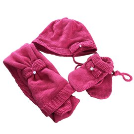 Tartine et Chocolat-Hats Beanies Gloves-Dark red