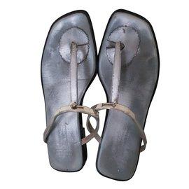 Hermès-sandals-Silvery